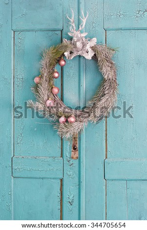 Christmas door wreath, blue, decor