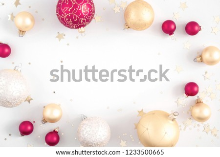 Christmas elegant composition. Christmas red and gold decorations on white background. Christmas, New Year, winter concept. Flat lay, top view, copy space #1233500665