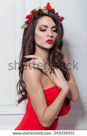 New Year Hairstyles For Long Hair : Christmas elegant fashion woman. xmas new year hairstyle and