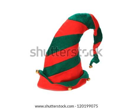 Christmas elf hat on white background