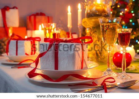 Christmas Eve dinner by candlelight