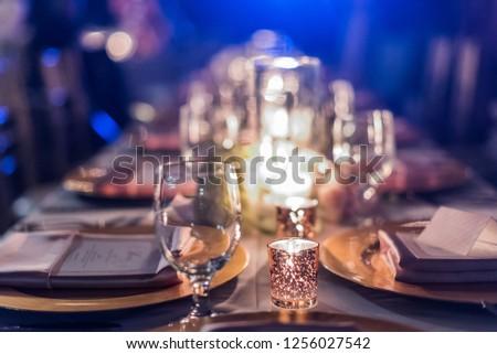 Christmas eve dinner, evening details defocus, lights, bokeh