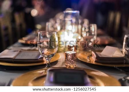 Christmas eve dinner, evening details defocus, lights, bokeh #1256027545