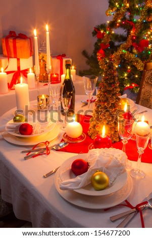 Christmas Eve dinner for the whole family - stock photo