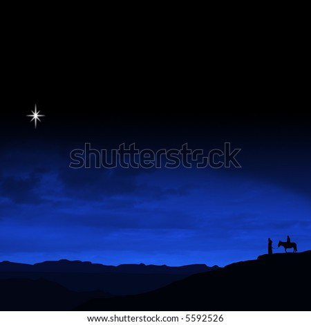 Christmas Eve Journey a religious themed illustration with Mary and Joseph following the star of Bethlehem