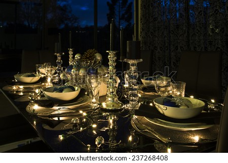 christmas eve table setting, new year night table setting