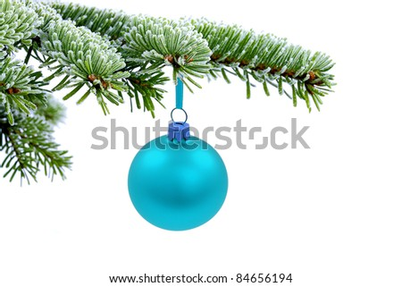 Christmas evergreen spruce tree and blue glass ball on snow background