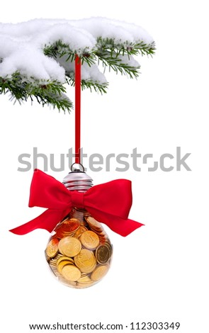 Christmas evergreen spruce tree with traditional light glass ball on snow background