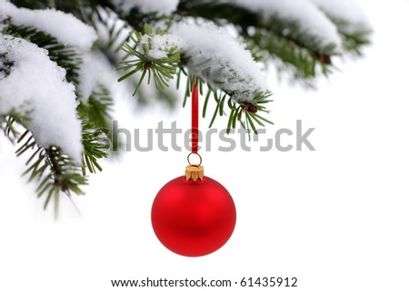 Christmas evergreen tree, glass ball and snow