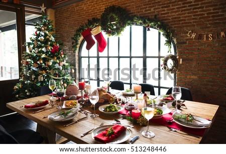 Christmas Family Dinner Table Concept