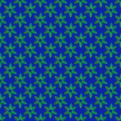 Christmas festive background. Creative seamless pattern of green snowflakes made of small Christmas trees cut out of holographic paper on bright blue background. Square photo.