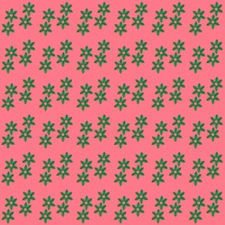 Christmas festive background. Creative seamless pattern of green snowflakes made of small Christmas trees cut out of holographic paper on pink background. Square photo.