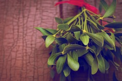 Christmas festive background with green mistletoe hanged on the old cracked door background with empty space for text.