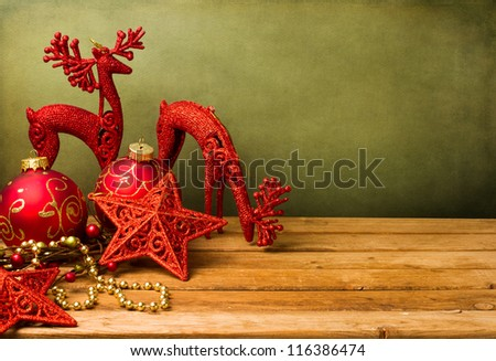 Christmas festive background with wooden deck table
