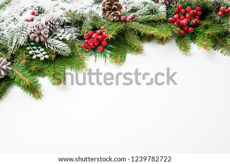 Christmas festive decoration and snow on white background with copy space for your text. #1239782722