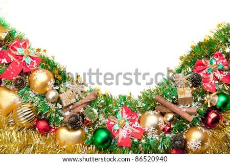 Christmas festive decoration.Christmas card background.. Decoration Border design isolated on white.