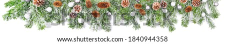 Photo of  Christmas Fir Brnaches with Snow  isolated on white Background - Super Wide Panorama