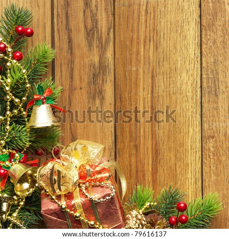 Christmas fir tree and christmas decoration