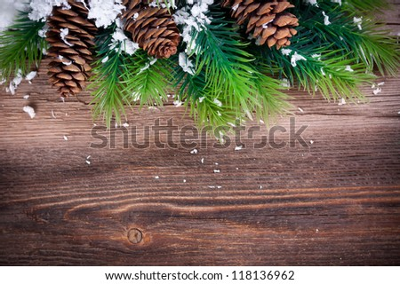 Christmas Fir Tree Border  on a wooden surface
