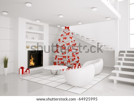 Christmas fir tree in the modern white room with fireplace interior 3d render