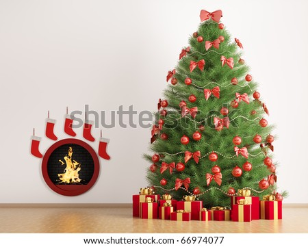 Christmas fir tree in the room with fireplace interior 3d render