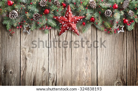 Christmas Fir Tree On Wooden Background  #324838193