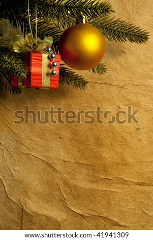 Christmas fir tree with colorful lights and decorations.