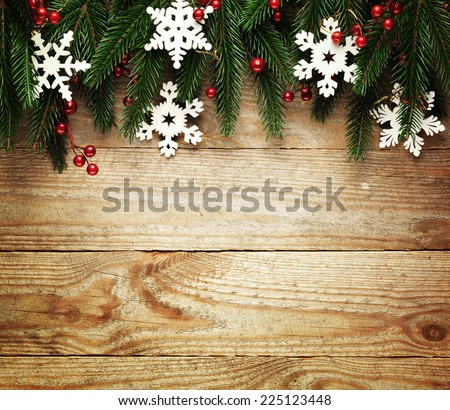 Christmas fir tree with decoration on a wooden board #225123448