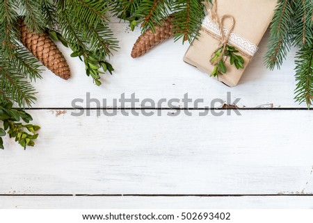Christmas fir tree with decoration on white wooden board #502693402