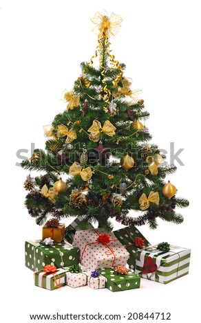 Christmas fir tree with gifts