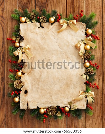 Christmas fir tree with paper and christmas decorations