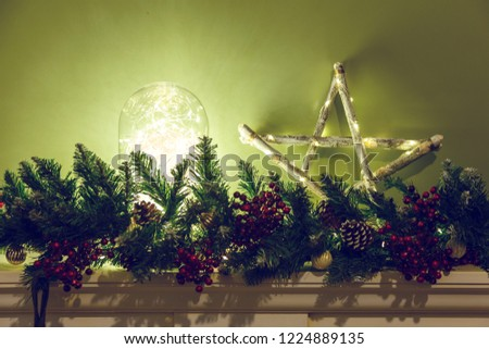 Christmas Fireplace, Decorative Spruce Branches, Xmas Lights Decorations.