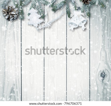 Christmas firtree on white wooden background - Shutterstock ID 796706371