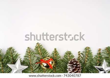 Christmas flat lay composition with copy space for text on white background. #743040787