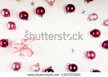 Christmas flat lay scene with glass balls #1187501803