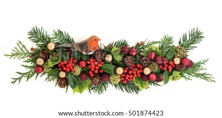 Christmas Flora With Red And Gold Bauble And Robin Decorations