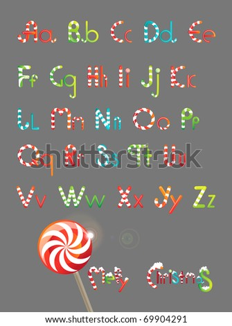 Christmas font color, from candy and lollipops