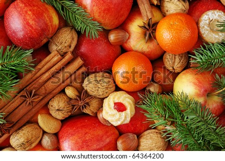 Christmas food background close up