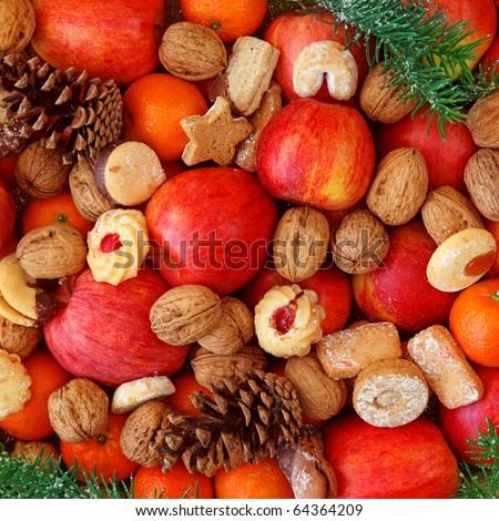 Christmas food background close up - stock photo