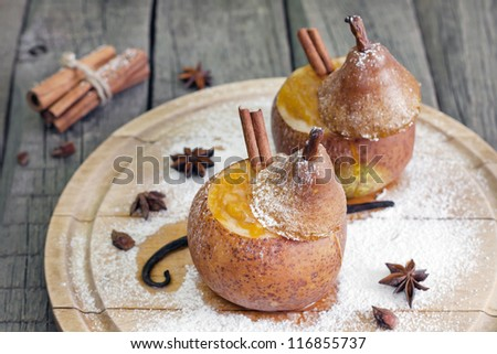 Christmas food baked pears with jam
