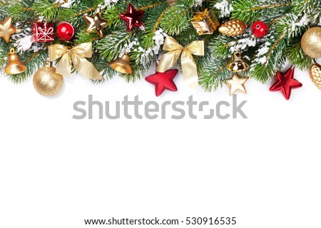 Stock Photo Christmas frame background with baubles decor and snow fir tree. Isolated on white background with copy space
