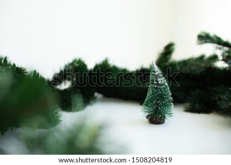 Christmas frame background with xmas tree and xmas decorations