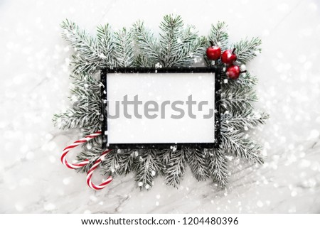 Christmas frame background with xmas tree and xmas decorations. Merry christmas greeting card, banner. Winter holiday theme. Happy New Year. Space for text. Flat lay #1204480396