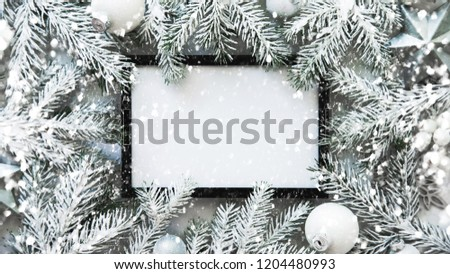 Christmas frame background with xmas tree and xmas decorations. Merry christmas greeting card, banner. Winter holiday theme. Happy New Year. Space for text. Flat lay #1204480993