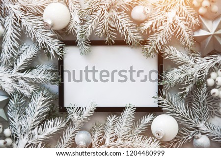 Christmas frame background with xmas tree and xmas decorations. Merry christmas greeting card, banner. Winter holiday theme. Happy New Year. Space for text. Flat lay #1204480999