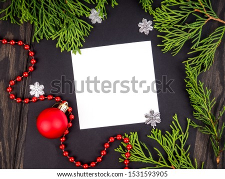 Christmas frame background with xmas tree and xmas decorations. Merry christmas greeting card, banner. Winter holiday theme. Happy New Year. Space for text.