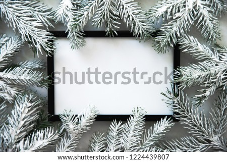 Christmas frame background with xmas tree. Merry Christmas greeting card, banner. Winter holiday theme. Happy New Year. Noel. Space for text. Flat lay #1224439807