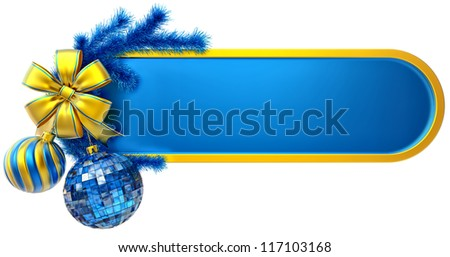 christmas frame decorated of blue fir branch and two christmas balls with one golden bow