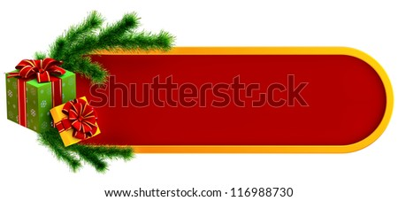 christmas frame decorated of green fir branch and two boxes ornamented of snowflakes and decorated by red bows as gifts