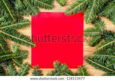 Christmas frame for congratulations and red paper #158153477